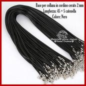 Base per collana in cordino cerato 2 mm. nero