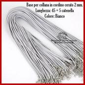 Base per collana in cordino cerato 2mm. bianco