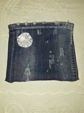Bustina in jeans con chiusura a cerniera