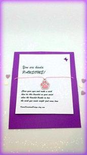Braccialetto amicizia make a wish con zampa rosa personalizzabile con l'iniziale, idea regalo per amanti dei cani