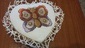 Cofanetto portagioie forma cuore ecopelle scomparti e ricamo farfalla punto croce