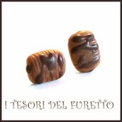 """Orecchini lobo """" Cioccolato  saccottini  """" brioche  fimo cernit premo idea regalo dolcetti miniatura cibo biscotto  pasticcino bambina regalo barista"""