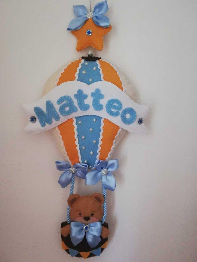 Fiocco nascita mongolfiera coccarda battesimo azzurro rosa nome orsetto Matteo