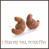 """Orecchini lobo """" Croissant   """" brioche  fimo cernit premo idea regalo dolcetti colazione  miniatura cibo biscotto  pasticcino bambina regalo barista"""