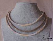Collana donna semi rigida a 3 fili in ecopelle bianca beige marrone