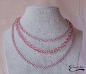 Collana donna a 3 fili in alluminio diamantato rosa che non annerisce