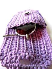 Astuccio portaocchiali viola e lilla a crochet uncinetto
