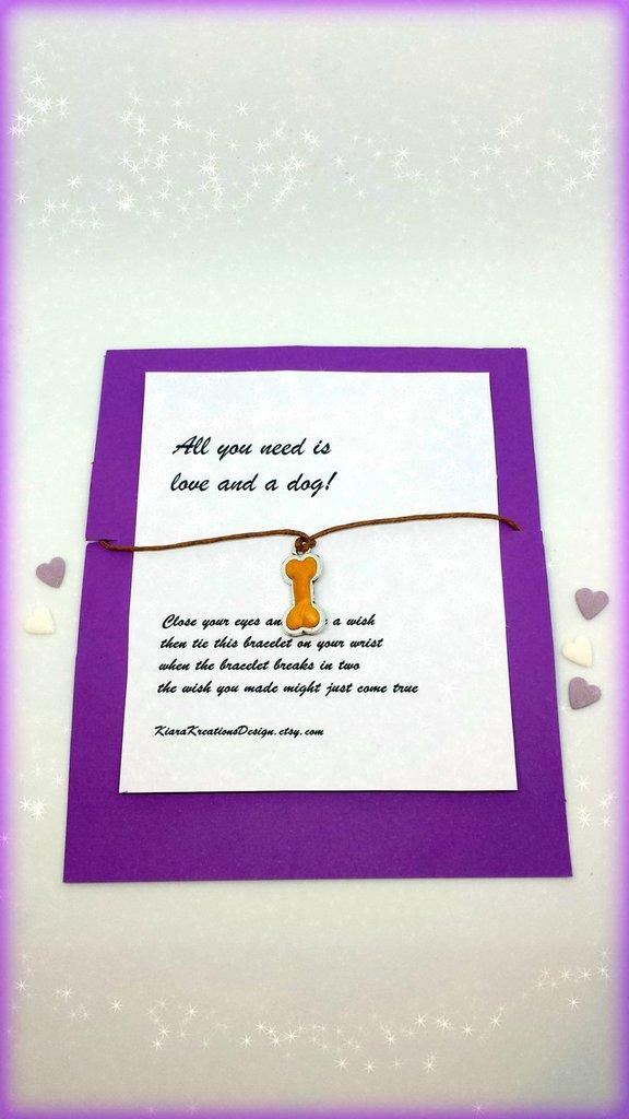 Braccialetto amicizia make a wish con osso personalizzabile con il nome, idea regalo per amanti dei cani