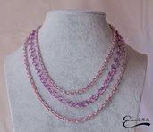 Collana donna a 3 fili in alluminio diamantato lilla rosa che non annerisce