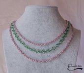Collana donna a 3 fili in alluminio diamantato rosa e verde che non annerisce