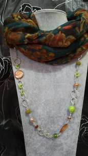 3in1 Foulard + Collana. Pietre dure, pietra lavica, madreperla, porcellana, verde marrone