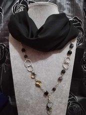 3in1 Foulard + Collana. Pietre dure, pietra lavica, madreperla, agata nero ciondolo cuore