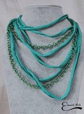 Collana morbida in fettuccia di cotone verde acqua con catena in alluminio (non annerisce)