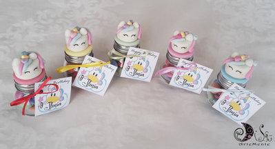 barattolini compleanno comunione minicake unicorno personalizzati