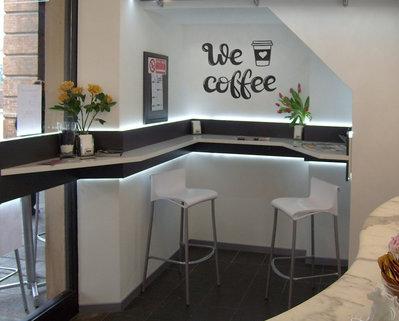 Adesivo We Love coffee per bar uffici bed and breakfast