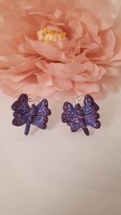 Orecchini farfalla fimo viola