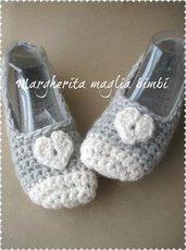 Ballerine lana donna cuoricino - babbucce donna/bambina - fatte a mano - uncinetto - grigio