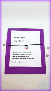 Braccialetto amicizia make a wish con cuoricino colorato, idea regalo per amanti dei cani, regalo san valentino
