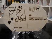 Cartolina in legno per San Valentino