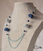 Collana donna stoffa blu e azzurra doppio filo catena