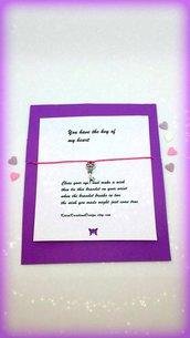 Braccialetto amicizia make a wish con charm a forma di chiave, idea regalo san valentino