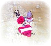 ★★SALDI Portachiavi - kawaii in fimo e cernit- love - bottiglietta cuori e scritta personalizzabile
