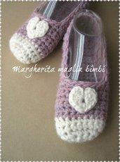 Ballerine lana donna cuoricino - babbucce donna/bambina - fatte a mano - uncinetto - rosa