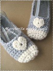 Ballerine lana donna cuoricino - babbucce donna/bambina - fatte a mano - uncinetto - azzurro