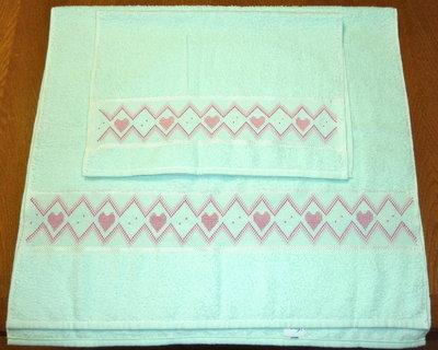 Coppia asciugamani spugna punto croce