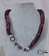 Collana in fettuccia di cotone morbidissima intrecciata fantasia bordeaux lilla viola
