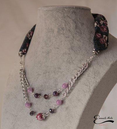 Elegante Collana donna in stoffa e pietre dure porcellana blu viola rosa