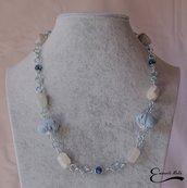 Collana donna pietre dure marmo stoffa azzurra bianco ghiaccio catena blu