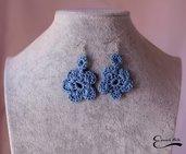 Orecchini uncinetto fiore colore azzurro turchese blu chiaro fatti a mano