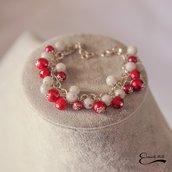 Bracciale donna pietre dure e perle cerate. Rosso e bianco.
