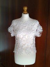 Top / maglia uncinetto a mezze maniche in cotone, colore bianco taglia S