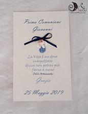 30 pergamene comunione bimbo segnaposto pergamena di ringraziamento con angioletto portafortuna blu
