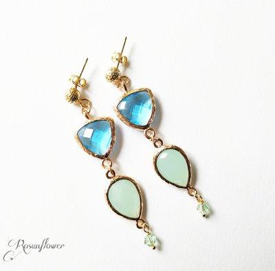 Orecchini con cristallo verde e azzurro, orecchini lunghi e pendenti per le donne