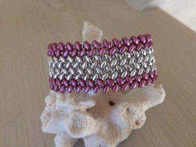 Bracciale Superduo rosa e argento