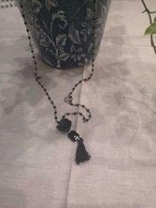 Collana con catena rosario nera