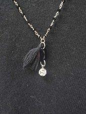 Collana con catena rosario nera e argento