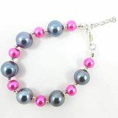 Bracciale con perle rosa e grigio, semplice, casual, idea regalo per lei, abbigliamento informale, gioiello per tutti i giorni, compleanno.