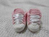 Scarpette cotone neonata uncinetto