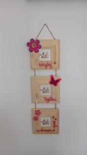 Tris cornici portafoto 6x6 fiore bambina