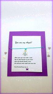 Braccialetto amicizia make a wish con charm a forma di angelo, idea regalo san valentino, regalo prima comunione