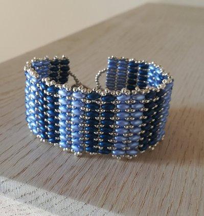 Bracciale a fascia di tessitura Superduo blu e azzurro