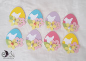 Etichette ovetti di pasqua etichette uovo colorate, con fiori e coniglietti e ovetto
