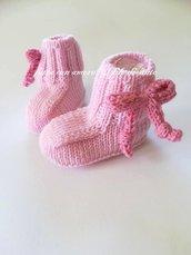 Scarpine stivaletti rosa in pura lana merinos 100%