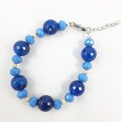 Bracciale blu denim con perle di agata e cristalli di boemia, idea regalo per lei, compleanno, anniversario, moglie, fidanzata, amica, mamma