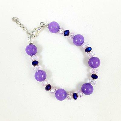 Bracciale elegante con giada viola e cristalli blu e rosa, regalo compleanno, donna, ragazza, moglie, mamma, figlia, sorella, pietre dure.
