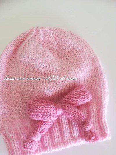 Cappello bambina in pura lana merinos 100% rosa con fiocco - Bambin ... 5cbd9367cf7e